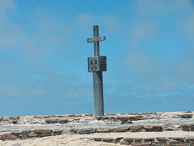 One of the two replicas of the cross (padrao) that was erected by Portuguese navigator Diogo Cao in 1486.