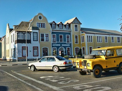 A view of downtown Swakopmund that clearly shows its German history.