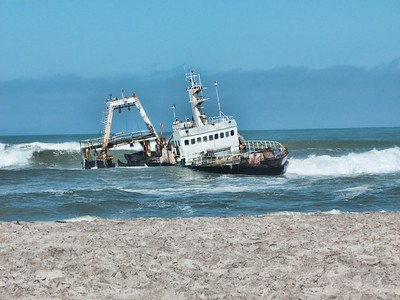 One of the ship skeletons on the Skeleton Coast.