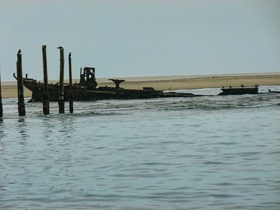 A ship skeleton at Walvis Bay.