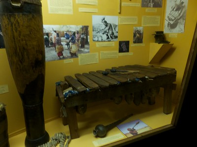 Traditional marimba and other percussion instruments in the Namibian National Museum.