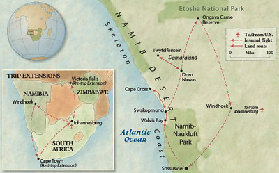 Map of our Overseas Adventure Travel trip to Namibia.  I traveled there in September 2012.