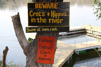Floating swim cage in the croc and hippo infested river