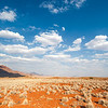 <em><b></b><center> In bright day light the colours seems almost unreal, the landscape change from the early morning soft faded colors to a firework of red and blue. The NamibRand Nature Reserve</center></em>