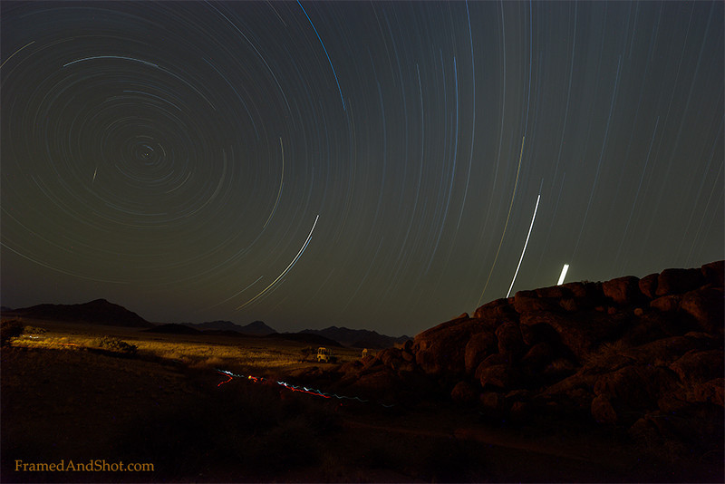 <em><b></b><center> Star trails over The NamibRand Nature Reserve</center></em>