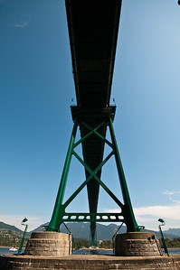 Looking straight up at Lion's Gate Bridge.