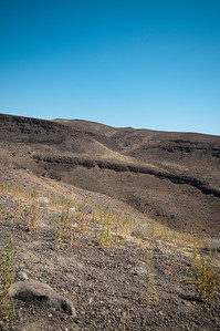 Looking up the sandy/rocky landscape.