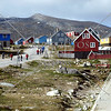 A view of the housing and residential buildings in the town of Nanortalik, Greenland.