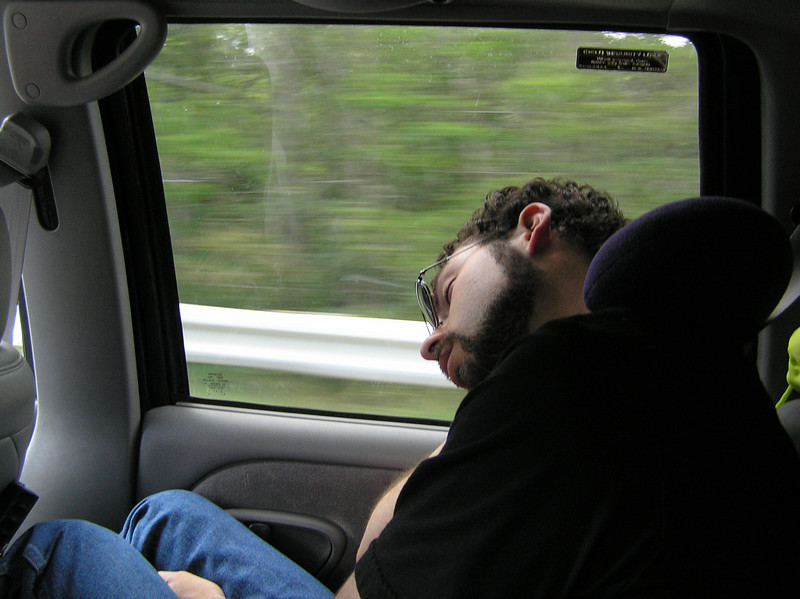 Seth is sleepy on the way to the ferry.