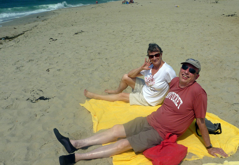 "Resting  on the beach after the ""bike ride from hell"""