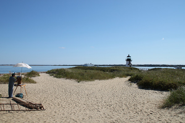 Brant Point beach and lighthouse.