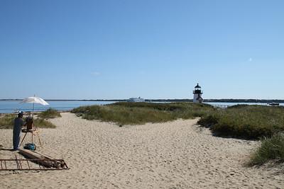 Brant Point beach and lighthouse.
