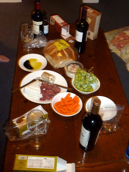 Yummy cheese and wine and whatnots for dinner.