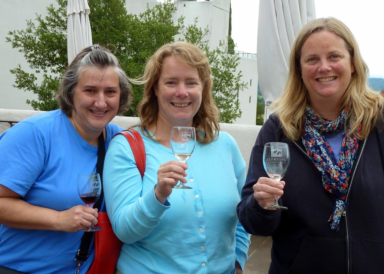 Lisa, Beth, Leah. Wine tasting at Sterling Winery