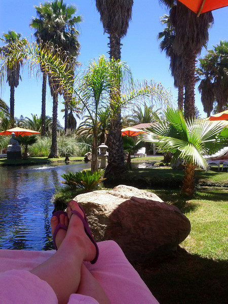 post-massage relaxation at the Buddha pond at Indian Springs spa