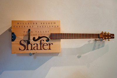 Shafer Vineyards, Stags Leap, Napa A German fan made a working guitar from a Safer wooden wine crate.