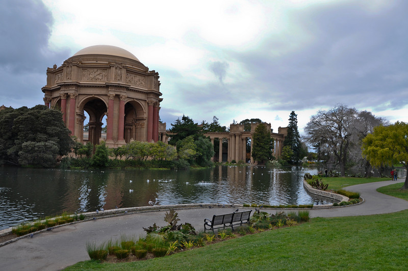 """Sasha had the great idea of stopping at the Palace of Fine Arts. I have no idea why they call it that, but there was some really neat architecture, and a small """"lake."""""""