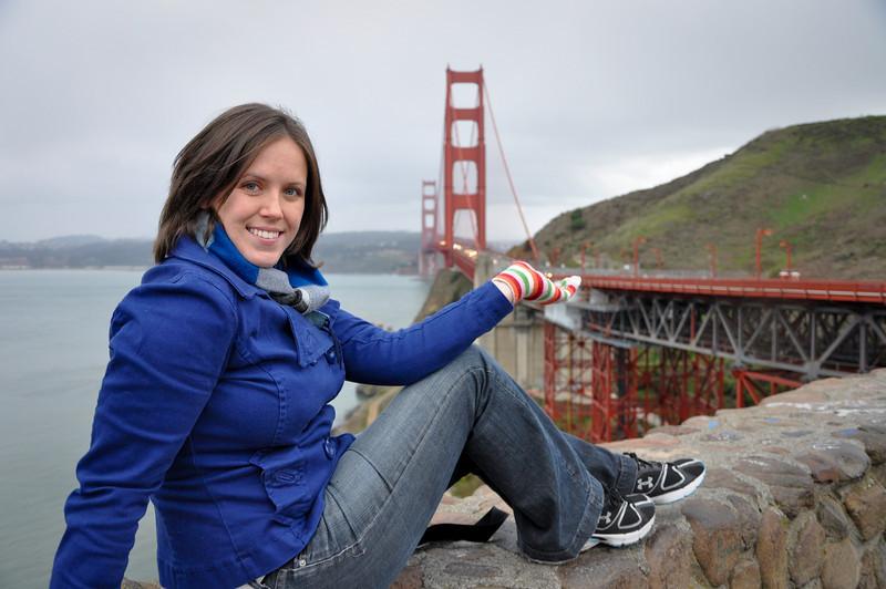 Sasha showing off the Golden Gate Bridge like Vana White.