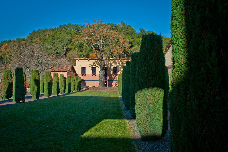 Inside the large courtyard at Clos Pegase.