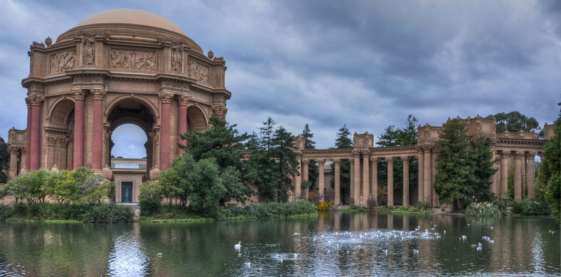 "A ""panoramic"" view of the Palace of Fine Arts."