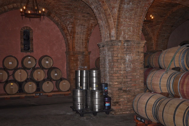 The tour guide pointed out that they store their wines in French Oak barrells. This was a huge room of their wine aging in French Oak.