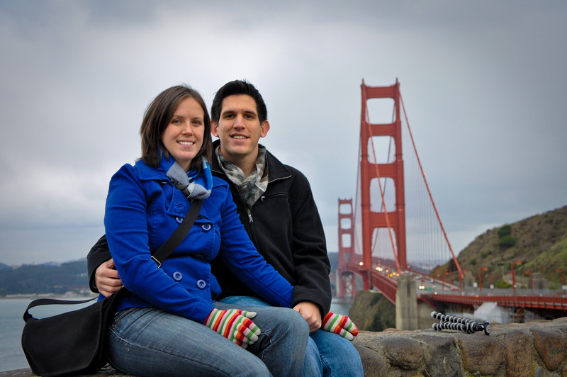 Sasha and I in front of the Golden Gate Bridge. And Aaron's tripod. I placed it on the ledge so as to keep it out of the picture... Whoops.