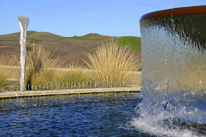 Hills beyond the fountain