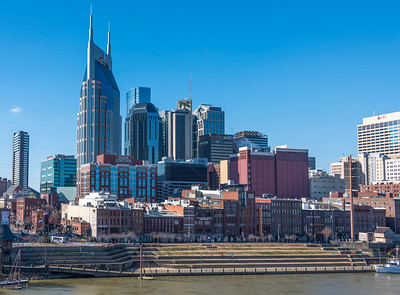 Nashville Skyline dominated by the AT&T or Batman Building