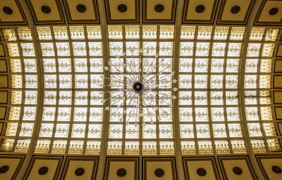 Stunning skylight ceiling over atrium...gorgeous light fixtures