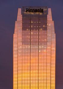 Pinnacle Bank Building at sunset
