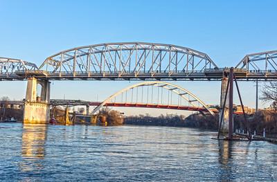 Bridges over the Cumberland River. foreground is Pedestrian Bridge