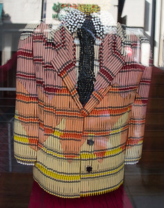 Sportcoat made of crayons at a local gallery