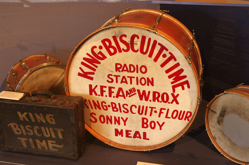"Display at the Delta Cultural Center, Helena, Arkansas. The King Biscuit Flour Hour radio show, broadcast from Helena, Arkansas, gave many now famous blues performers their first exposure to a wide audience.<br /> <a href=""http://www.deltaculturalcenter.com/"">http://www.deltaculturalcenter.com/</a>"