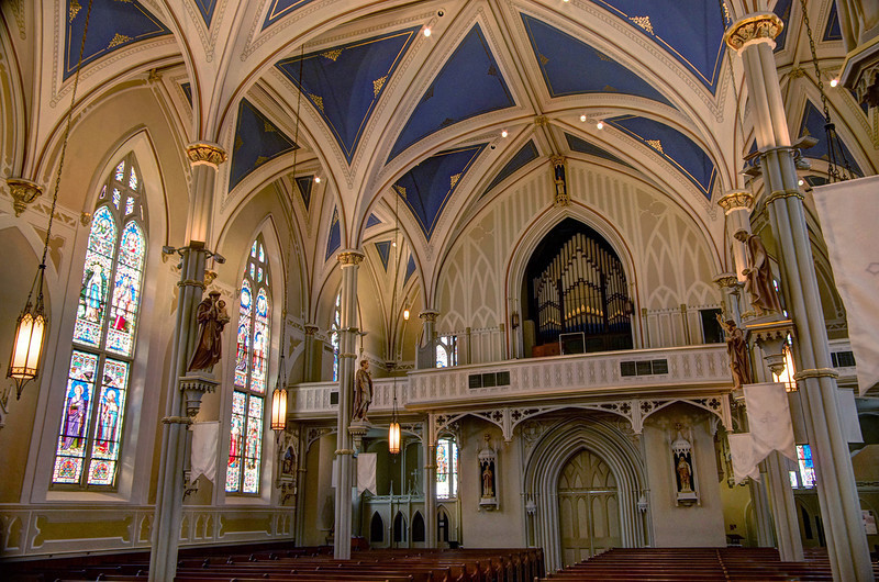 Interior view of St. Mary Basilica, Natchez, Mississippi.