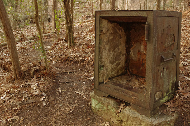 This old rusted safe is one of two that can be found back in the Jungle that was once Rocky Falls.
