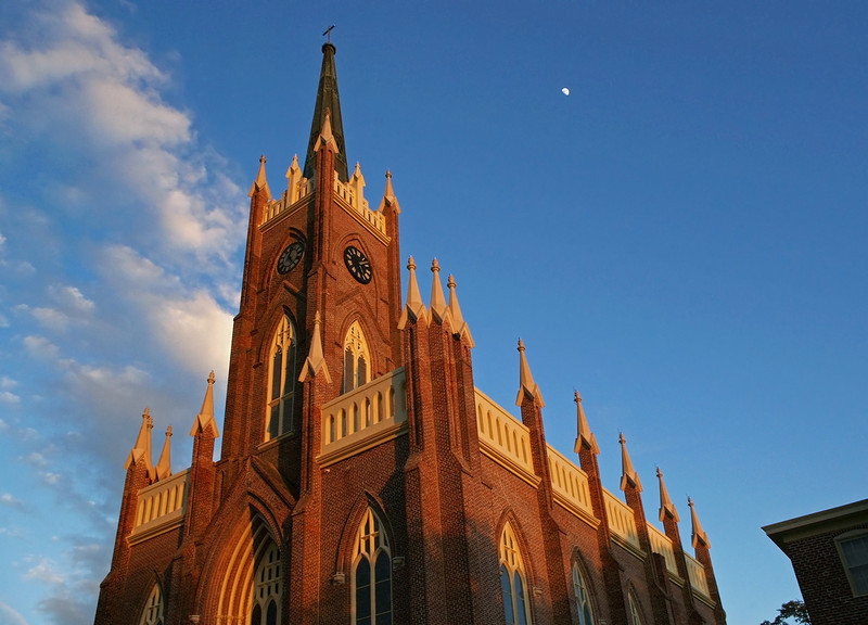 St. Mary Basilica, Natchez, Mississippi. Exterior front in evening light.