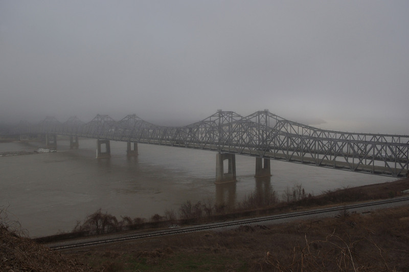Bridge across the Mississippi River from Natchez, Mississippi to Vidalia, Lousiana on a foggy morning.