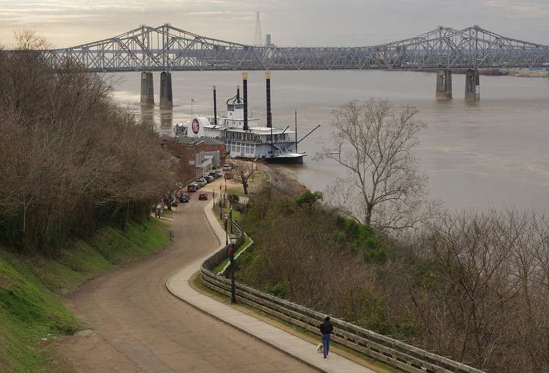 "Under the Hill Trail, Natchez, Mississippi. There are a couple of restaurants and a ""riverboat"" casino at this end of the trail."