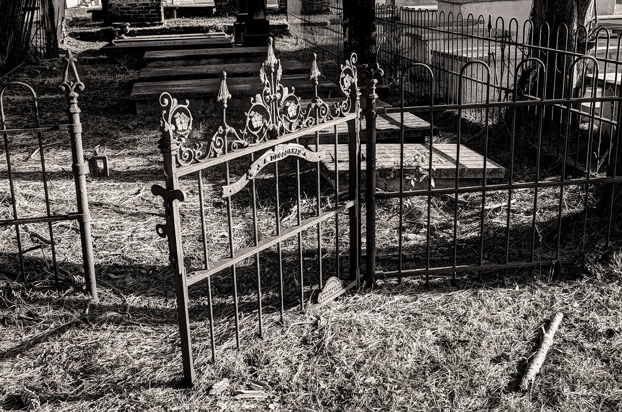 Iron gate, Catholic Cemetery, Natchitoches, Louisiana.