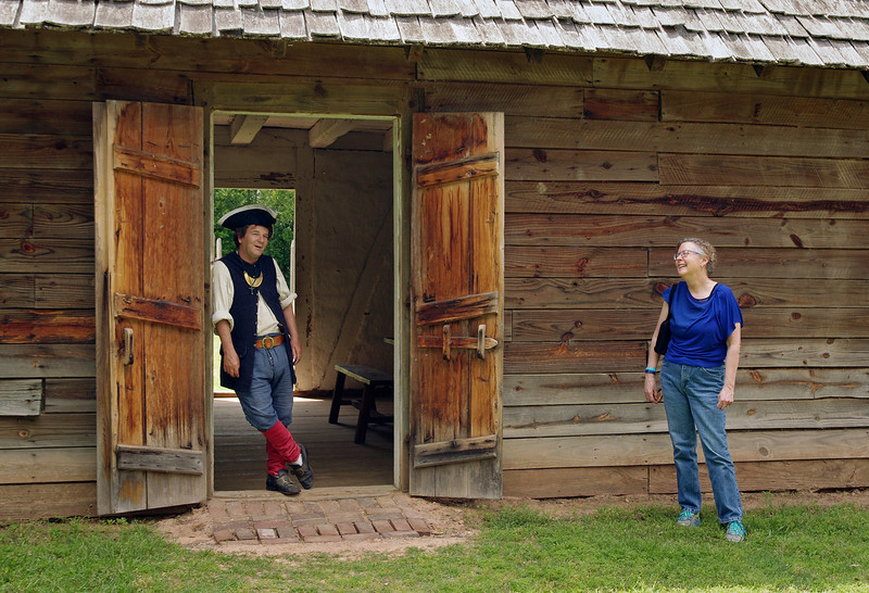 Rita yukking it up with a French colonial soldier, Fort St. Jean Baptiste State Historic Site, Natchitoches, Louisiana.