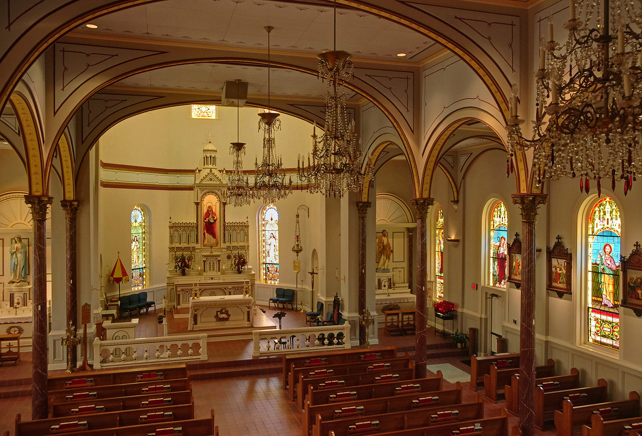 Interior of Immaculate Conception Catholic Church, Natchitoches, Louisiana.