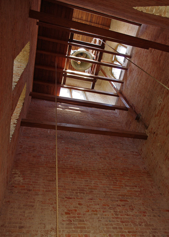 View up the bell tower, Trinity Episcopal Church, Natchitoches, Louisiana.