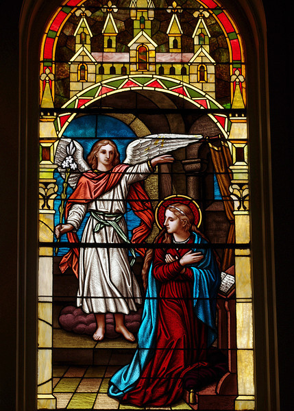 Stained glass window, Immaculate Conception Catholic Church, Natchitoches, Louisiana.
