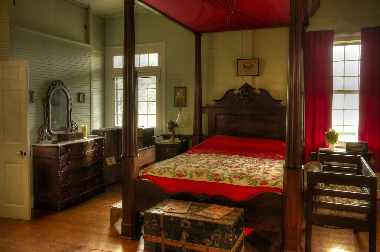 Bedroom, Oakland Plantation, near Natchitoches, Louisiana.
