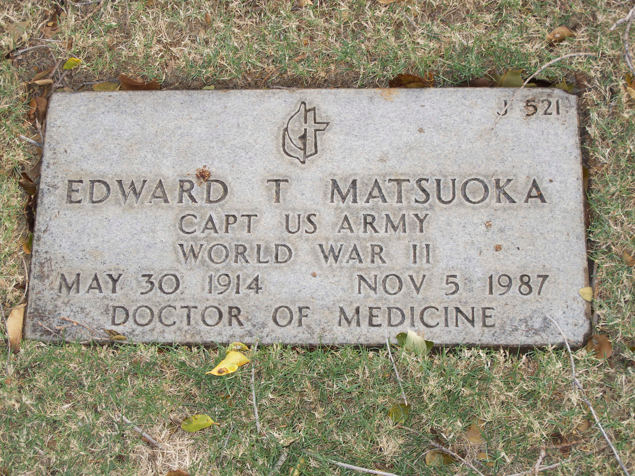 Dr. Matsuoka was born in Olaa, Hawaii. He received his medical degree in 1941, and he was a battlefront surgeon who received the Bronze Star for his part in the Battle of the Bulge. The symbol above his name is of the United Methodist Church.