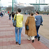 Fran Barnes, Francoise and Julian Moiseiwitsch and Nina Moiseiwitsch and Ella Barnes (in front of Fran) walk through Olympic Park to the Coke Museum.