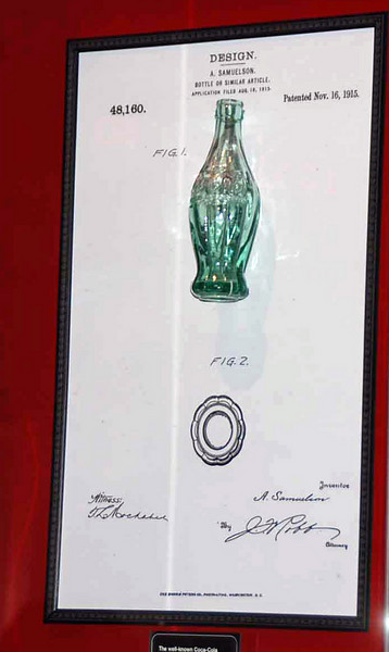 This is the original design submitted to Coca-Cola for their Coke bottles.  Only two of these bottles exists, one on display at the designer's factory, and this one on display at the Coke Museum.  The bottles were made slimmer to operate better in automatic dispensing machines.