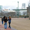 Nina Moiseiwitsch and Ella Barnes walk through Olympic Park to the Coke Museum.