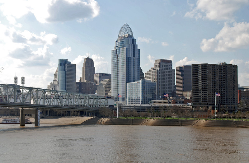 The skyline of Cincinnati, Ohio.