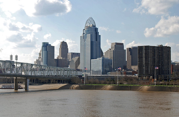 The skyline of Cincinnati, Ohio.
